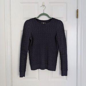 Uniqlo Navy Cotton Cashmere Cable Crewneck Sweater